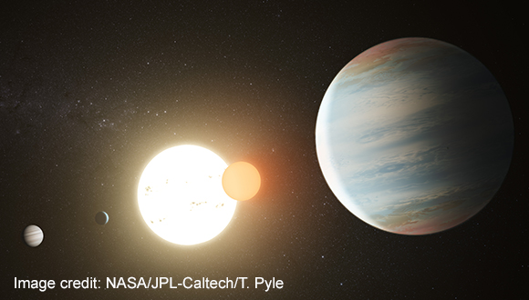 Discovery of a binary star orbited by three planets
