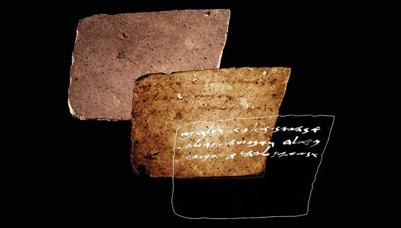 An interdisciplinary team, have managed to discover a new ink inscription, invisible to the naked eye, written on the backside of a well known inscription